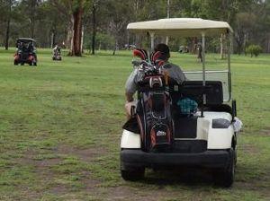 Three golf carts taken for joy ride