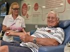 Ron Krueger giving a plasma donation to registered nurse Andrea Buenen at the Hervey Bay Blood Bank. Photo: Alistair Brightman / Fraser Coast Chronicle