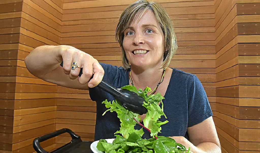 Jane-Louise Lampard, USC Health and Environment lecturer demonstrates how to stay safe in the kitchen with food.