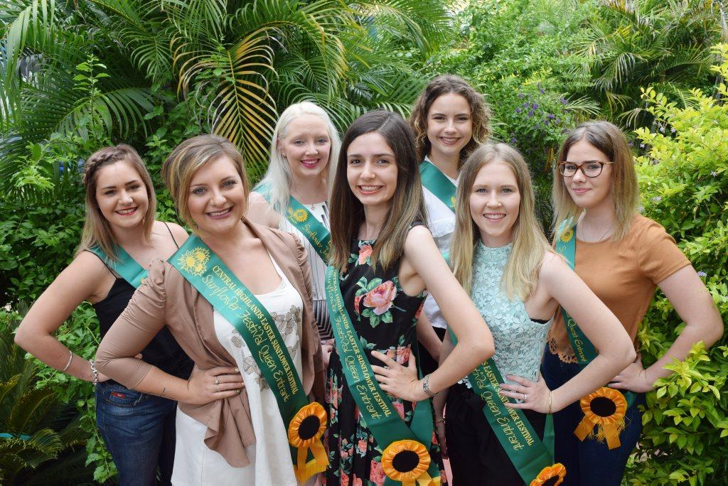 LOOKING SASHING: Sunflower princess (back row) entrants Courtney Cooper, Amanda Frousheger, Abbi Ryan, Annie Heslin (Peyton Bridgeman absent). Sunflower queen entrants (front row) Chloe Gagnepain, Caitlin Smith and Mikahla McCarthy.