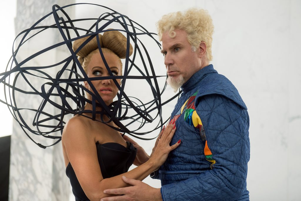 Kristen Wiig and Will Farrell in a scene from the movie Zoolander 2.