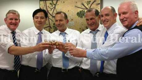 Member for Groom Ian MacFarlane, Chinese businessman Li Ruipeng, former prime minister Tony Abbott, Liberal party donor Paul Marks, MP Stuart Robert and Bruce McIver.