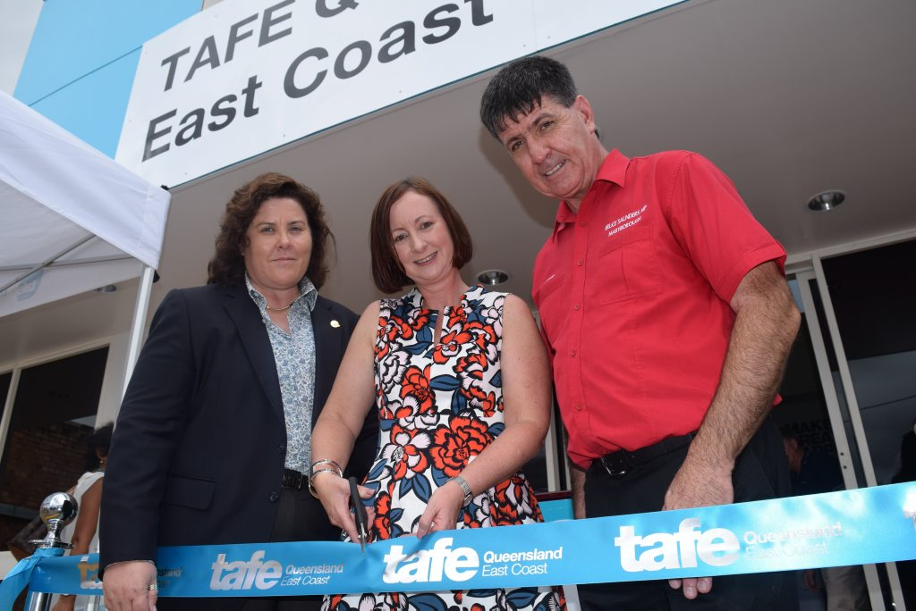 TOUR: Attorney General RIBBON: (From left) Tafe Queensland CEO Jodi Schmidt, Attorney General Yvette D'ath and Maryborough MP Bruce Saunders cut the ribbon to open Maryborough's new Tafe.