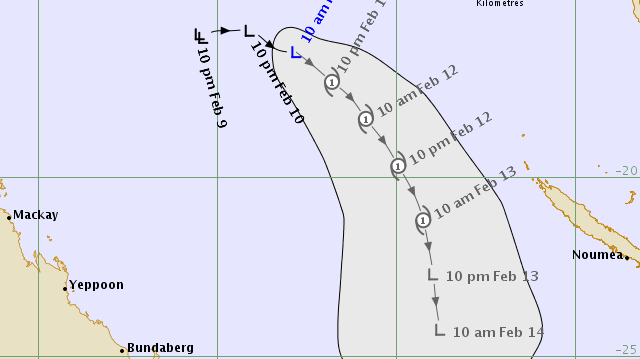 Bom forecast model cyclone path Feb 11 11am 2016