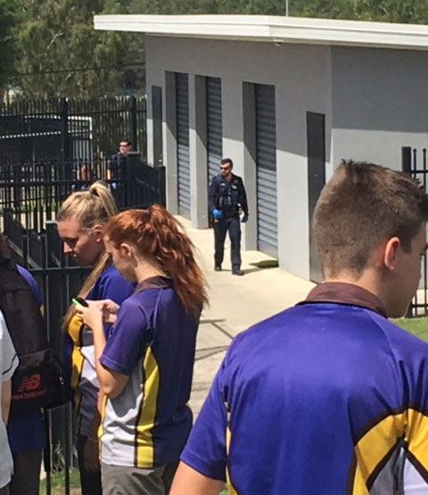 Police patrol Bremer State High School after a bomb threat was called in last week.