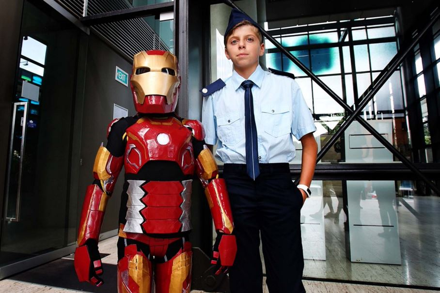 Mission ready. Iron Boy (Domenic) with Captain Rhodes (Domenic's brother Joseph)