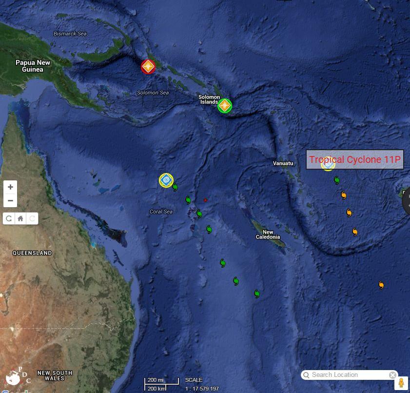 Cyclone near Vanuatu and possible cyclone off Queensland