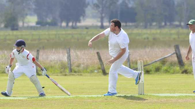 Matthew Elkerton bowls for Coutts Crossing in the CRCA 3rd Grade match between Coutts Crossing and South Services at Rushforth Park on Saturday, 24th of October, 2015. Photo Bill North / Daily Examiner