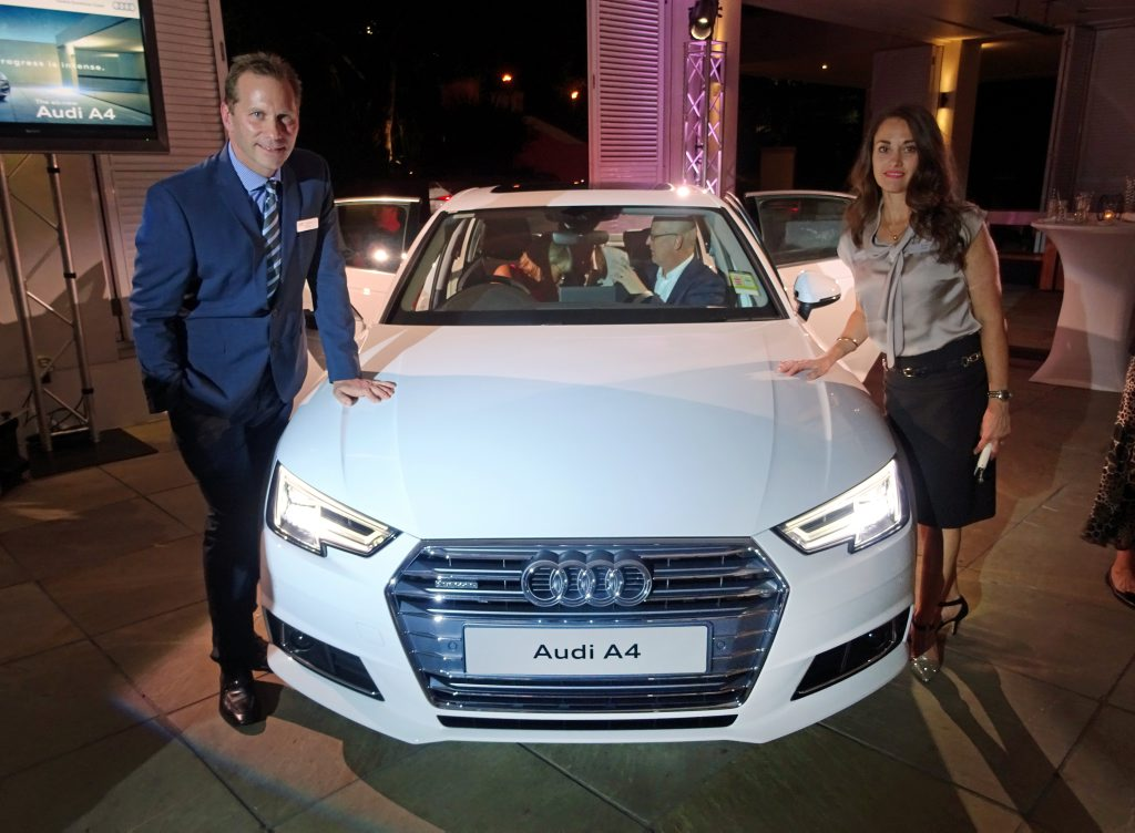 DEBUT: The new Audi A4 has arrived in Australia, getting its first reveal at an Audi Centre Sunshine Coast event. Pictured are dealer principal Andrew Moye and Karen Moye.