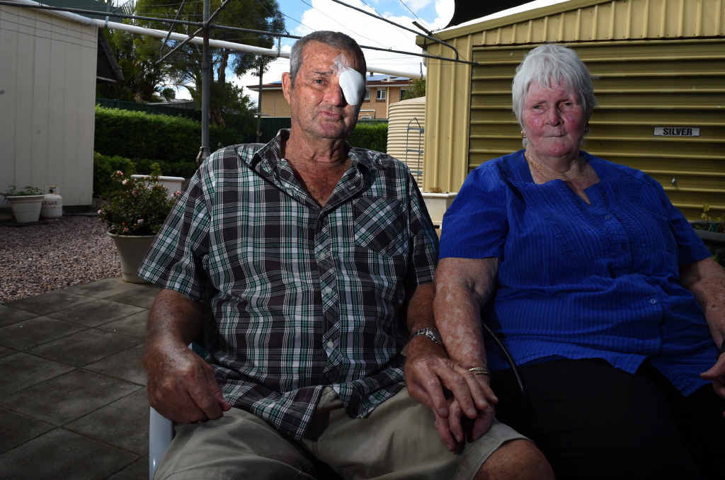 HARD TIME: Black Lung disease sufferer Percy Verrall and his wife Daphne at their house near Ipswich yesterday. Mr Verrall, a former coal miner, is Australia's first victim of black lung disease in 30 years. INSET: Percy Verrall covered in black dust during his days as a coal miner.