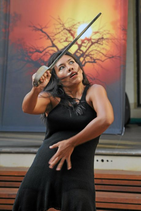 Entertainer Jade Dewi at the opening of Plunge, Art and Culture festival held at the Grafton Regional Gallery in Fitzroy St, Grafton.   Photo: Leigh Jensen / Daily Examiner March 26, 2015