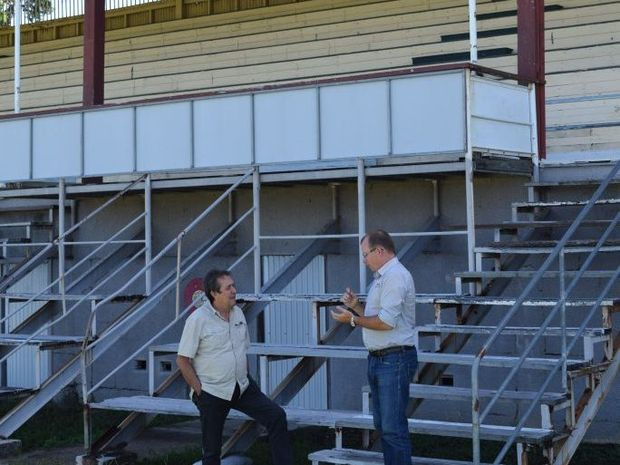 Mackay showgrounds secretary-manager Steve Gavioli with Ross Planning managing director Dion Collins discuss works for the old grandstand.