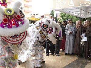 Lion dance opens harmony art exhibition