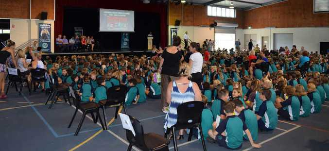 APPRECIATION: Buddina State School students sit down at an assembly to thank community organisations and businesses which helped during a bomb scare.