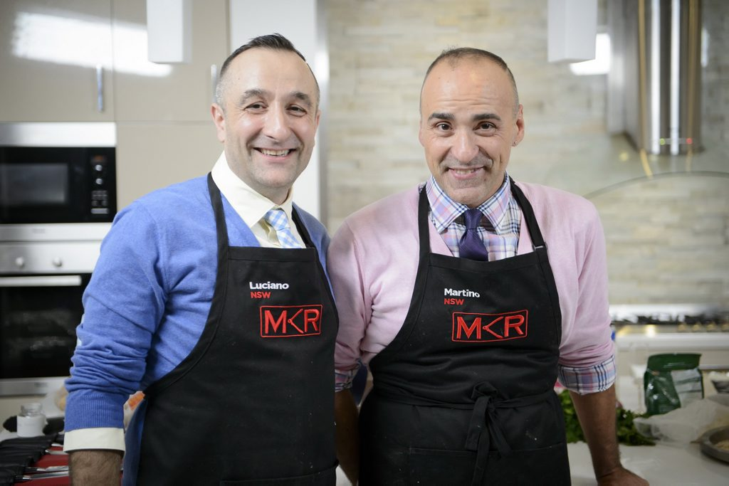 My Kitchen Rules contestants Luciano and Martino pictured during their instant restaurant in Sydney.