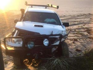 Two people airlifted after cars collide on beach at night