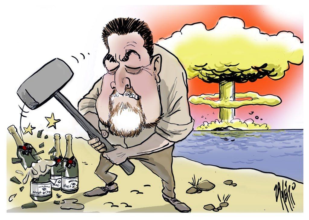 Cartoonist Zanetti's take on the epic battle.