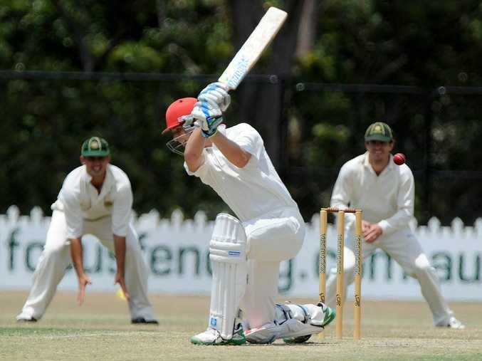 Sunshine Coast Scorchers against Wynnum Manly cricket match. Scorchers Nick Selman on the front foot.