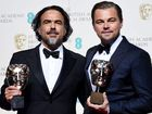 Alejandro Gonzalez Inarritu and Leonardo DiCaprio pose in the press room after winning the Best Director and Best Actor respectively for The Revenant during the 69th annual British Academy Film Awards.