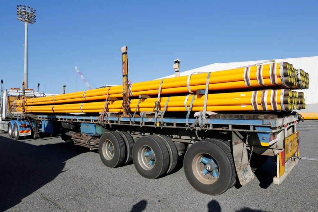 AGN pipes leaving Brisbane headed for Bundaberg. Photo: contributed