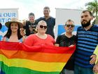 EQUAL RIGHTS: Marriage equality supporters, including Labor candidate for Capricornia Leisa Neaton and Member for Keppel Brittany Lauga, at a PFLAG rally at the Rainbow Fountain.
