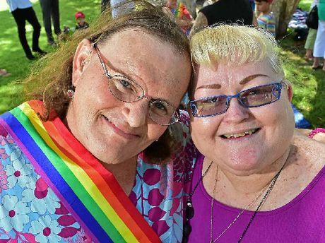 RALLY: Amanda and Rachel Gilmore at the rally at Cotton Tree Park, Maroochydore.