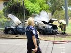 A car was set on fire in Jane Street Leichhardt. Photo: David Nielsen / The Queensland Times