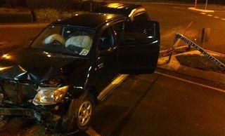 The damaged vehicle after a crash at Buderim.