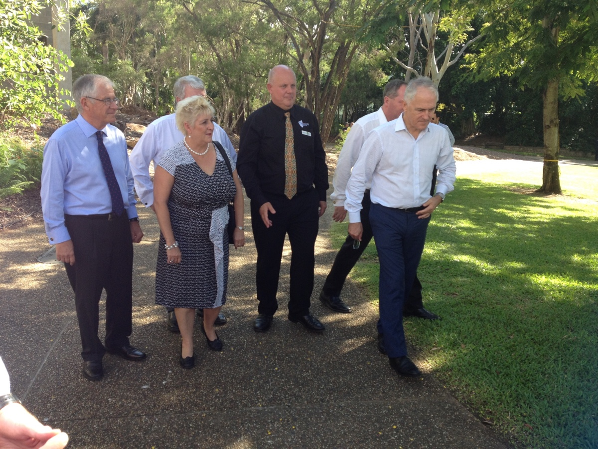Capricornia MP Michelle Landry shows Prime Minister Malcolm Turnbull around CQUniversity and a new allied health learning centre with CQU Vice Chancellor Scott Bowman and others.