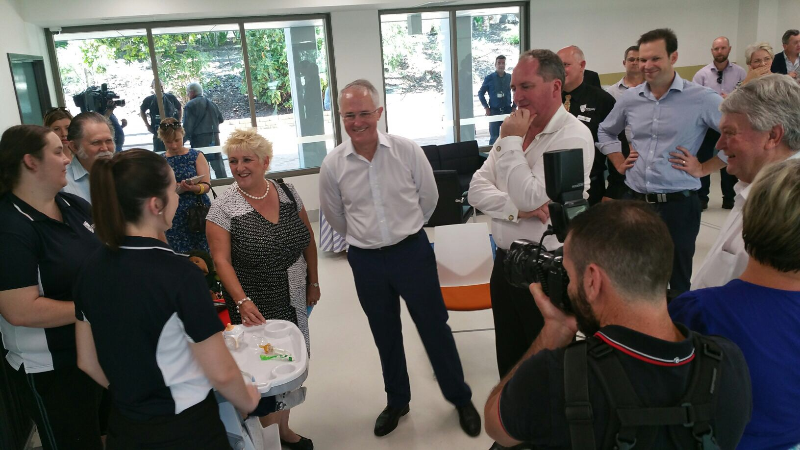 Capricornia MP Michelle Landry, Prime Minister Malcolm Turnbull and Deputy PM Barnaby Joyce at CQUniversity North Rockhampton.