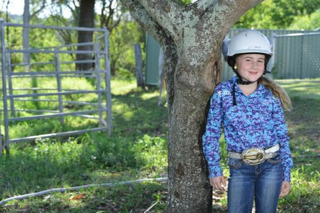 Eight-year-old Mia Beauchamp will be going to America for the 2016 National Barrel Racing Association Youth World Finals Photo: Rob Williams / The Queensland Times
