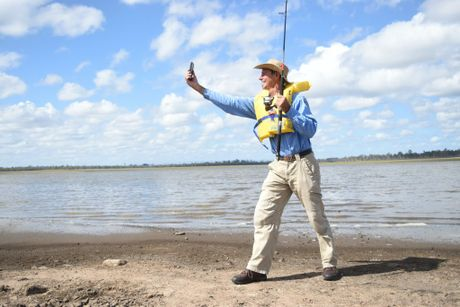 SeqWater ranger Glynn Aland takes his selfie for the SeqWater Play it Safe selfie competition. Photo Ali Kuchel / Gatton Star