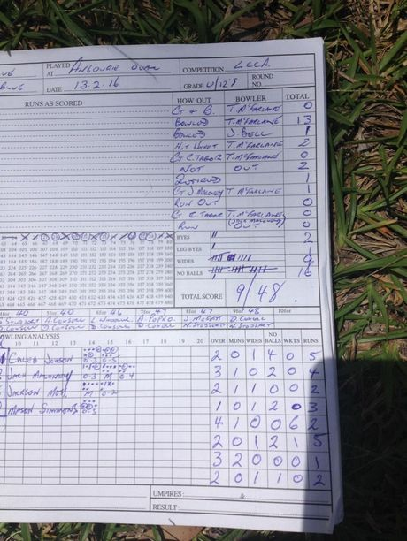 The scorebook which shows Troy McFarlane's dominant display of bowling.