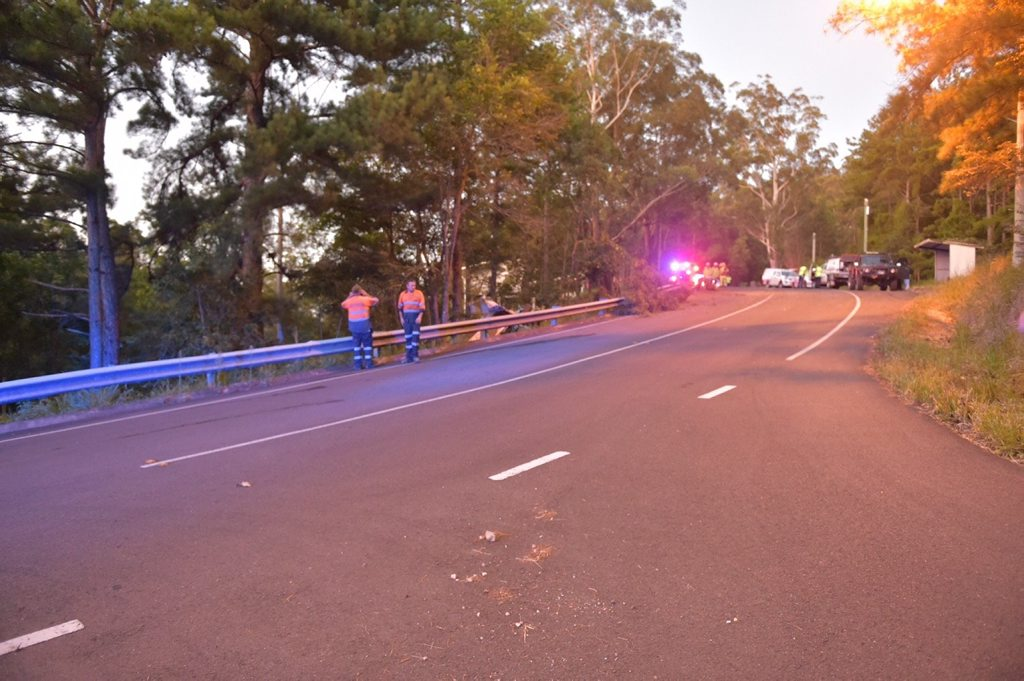 The scene of a fatal truck rollover at Kiel Mountain Rd, Woombye, this evening.