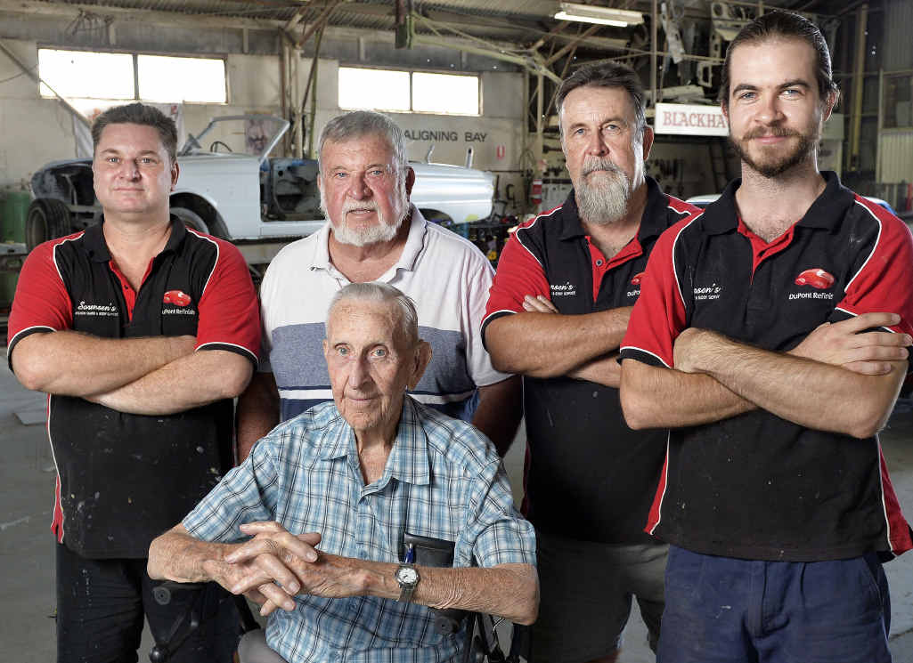 Sorensen's Ipswich Guard and Body Sevice is closing after 63 years in Business. (clockwise from front) Harry, Mel, Gary, Ken and Matt Sorensen.