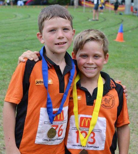 U9 700m walk medallists – Torin Manteit and Koda Cuthbert-Hough.