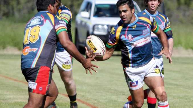 MOVING UP: Bluff Rabbitohs' captain Chris Conway finds an inside runner.