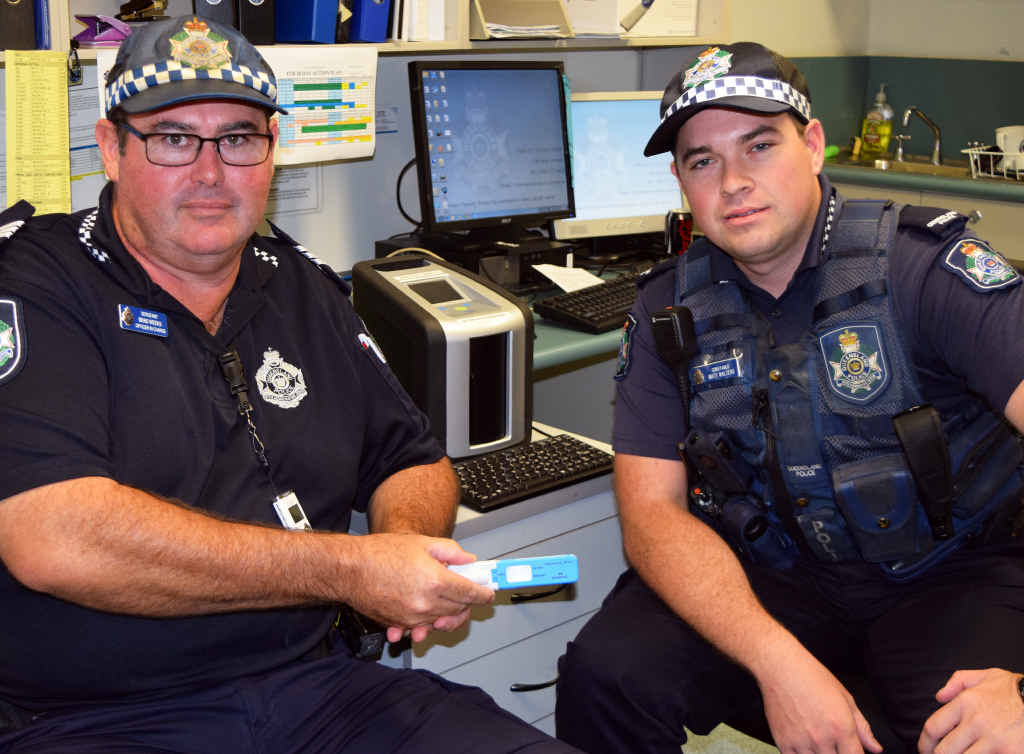 EXPECT TO BE CAUGHT: You will see more of Emerald Road Policing Unit officer-in-charge Sergeant Brad Weeks and Constable Matthew Walters with random roadside drug tests on the rise in Emerald.