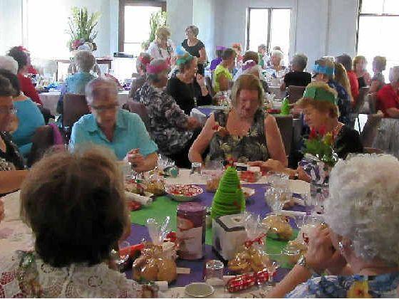 Members enjoy their Christmas party.
