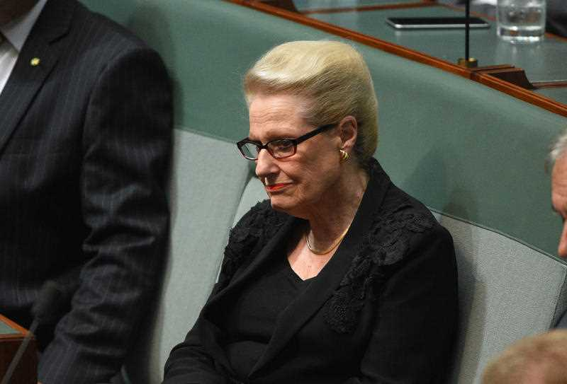 Former Speaker Bronwyn Bishop during Question Time at Parliament House in Canberra on Tuesday, Feb. 2, 2016.