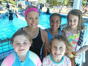 Wooli students having a go at swimming carnival