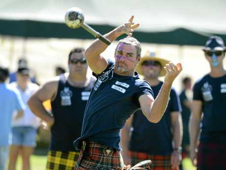 Tony McFarlane of Yamba was competing at the Maclean Highland Games hammer throwing event on Saturday at the the Maclean Showground. Photo Debrah Novak / The Daily Examiner