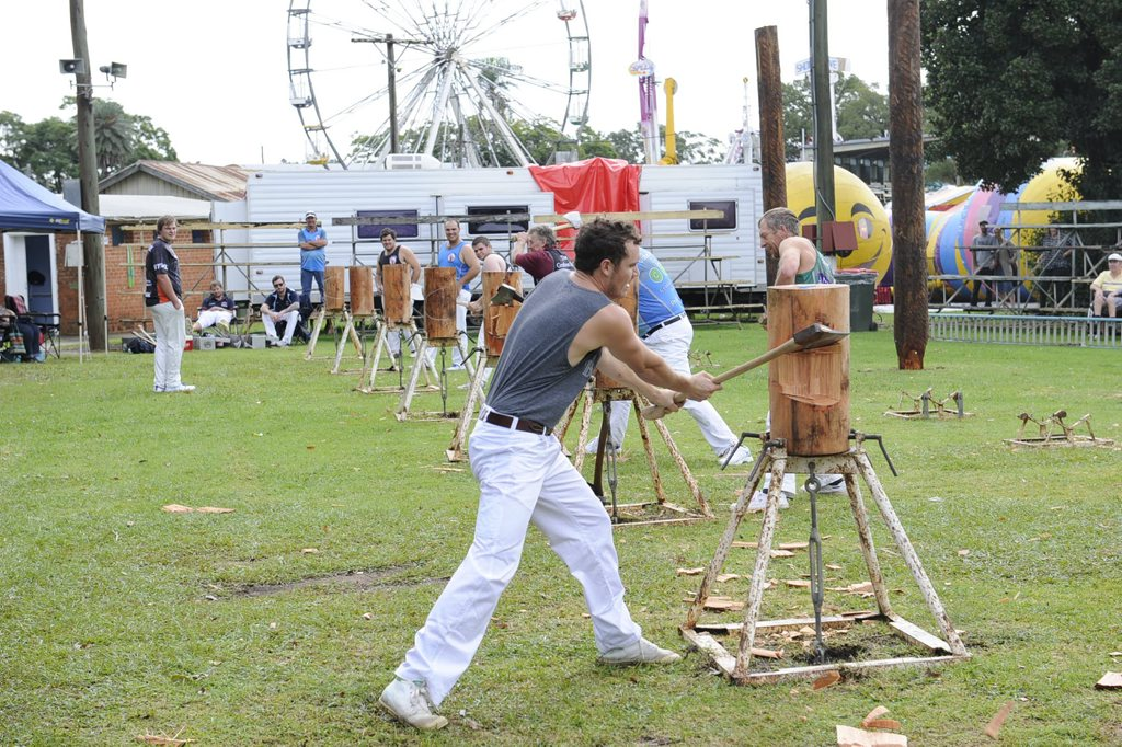 George Farmer of Cangi during the wood chopping event at the 2015 149th Grafton Show at the Grafton Showground on Saturday 2nd May. Photo Debrah Novak / The Daily Examiner