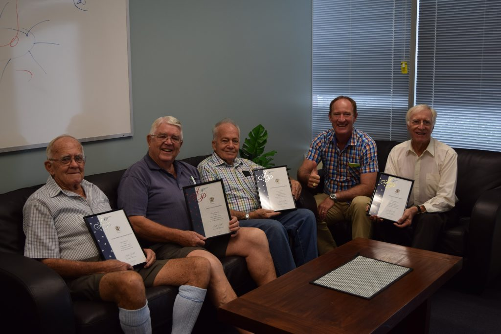 LIFETIME OF WORK: The JPs receiving awards in Buderim MP Steve Dickson's office.