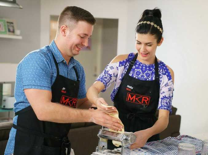 My Kitchen Rules contestants JP and Nelly pictured during their instant restaurant in Little Mountain.