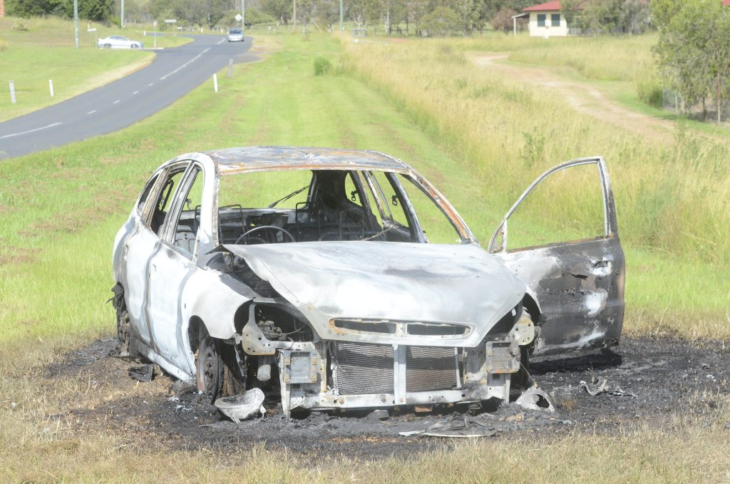 The remnants of a car that was burnt out near the corner of Rushforth Road and Bimble Avenue in South Grafton at about 4am on Tuesday, 17th of February, 2015.Photo Bill North / Daily Examiner