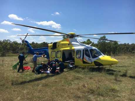 RACQ CareFlight Brisbane airlift a teen after a forklift rolled on him at Laidley.