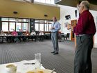 OVER TO YOU: Member for Page Kevin Hogan throws a question to Grafton Chamber of Commerce head Phil Belletty during Wednesday's chamber breakfast meeting.Photo Tim Howard / Daily Examiner