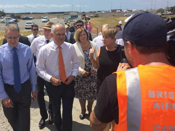 Malcolm Turnbull at a press conference at the Brisbane Airport on Wednesday.
