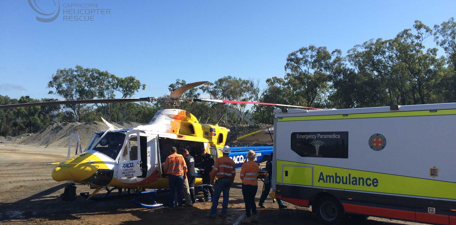 An intensive care paramedic stabilised the man at the scene in Yarwun before transporting him to Rockhampton hospital.
